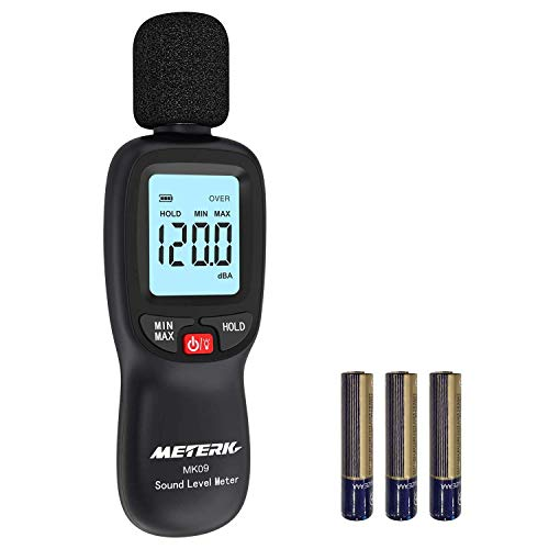 Schallpegelmesser Meterk Schallpegel Messgerät Messung Range 30-130dB schnell reagierend großer...